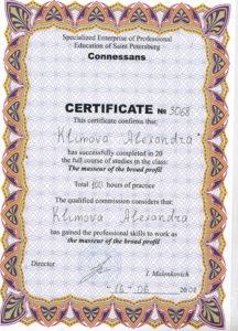 Сертификат Климова А. 7