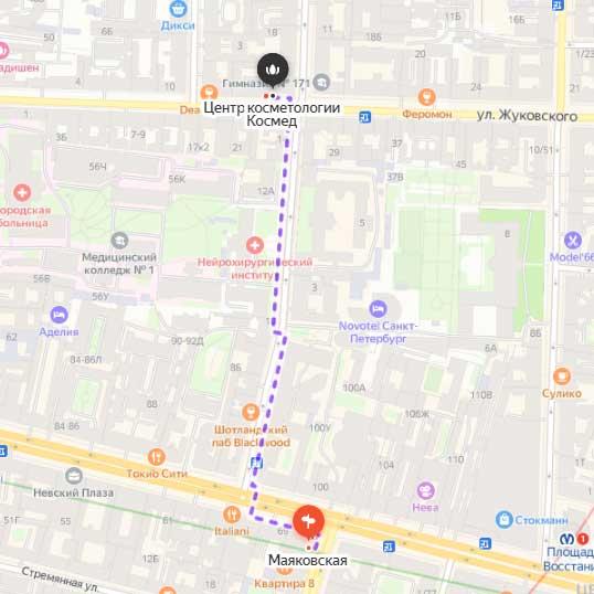 Схема прохода к центру КОСМЕД от станции метро Маяковская