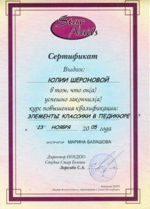 Сертификат Шероновой Юлии 1