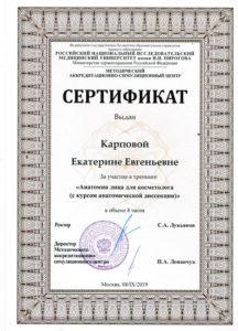 Сертификат участника Карпова Е